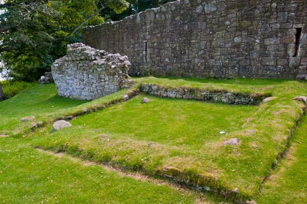 Lochleven Castle photo, Turf-covered foundations outside the castle walls