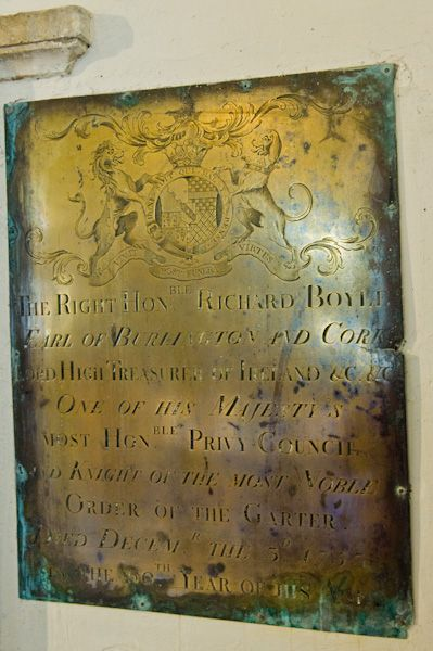 Londesborough, All Saints Church photo, Richard Boyle, 3rd Earl of Burlington memorial