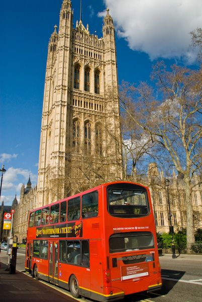 London photo, Palace of Westminster and double-decker bus