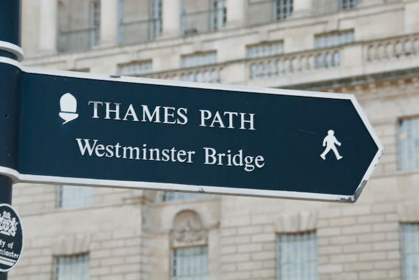 London photo, Thames Path sign, Westminster Bridge