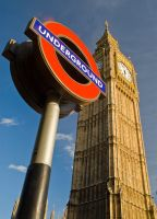 London, Big Ben with underground sign