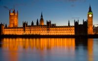 London, Houses of Parliament illuminated