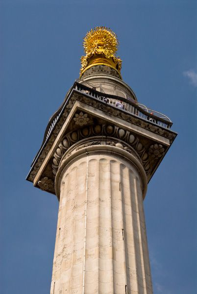 London Monument photo, The Monument gilded urn