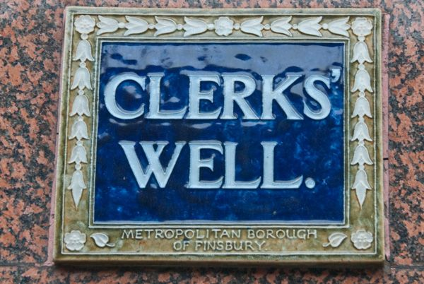 Clerk's Well photo, Clerks Well sign