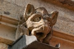 Grotesque gargoyle carving