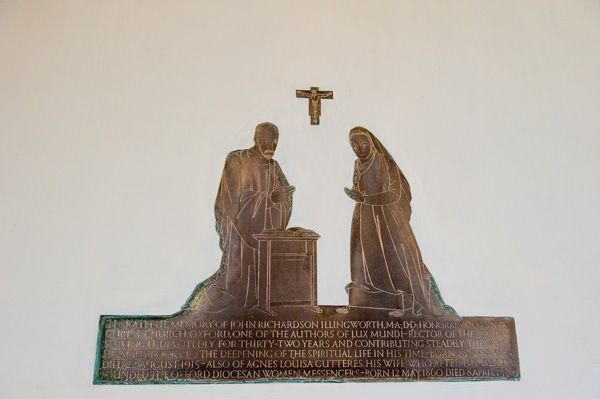 Longworth, St Mary's Church photo, Dr Illingworth memorial brass