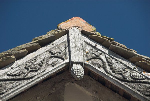 Brockhampton Estate photo, Decorative carving on the gatehouse gable