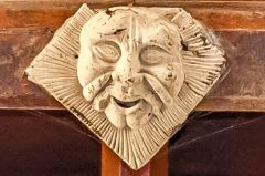 Carved roof boss in the chancel