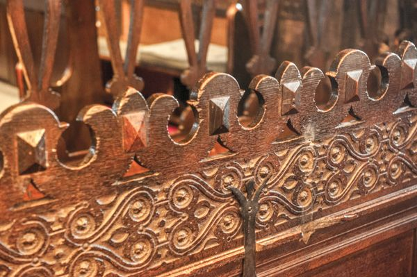 Lower Peover, St Oswald's Church photo, Detail of 17th century woodwork, chancel stal