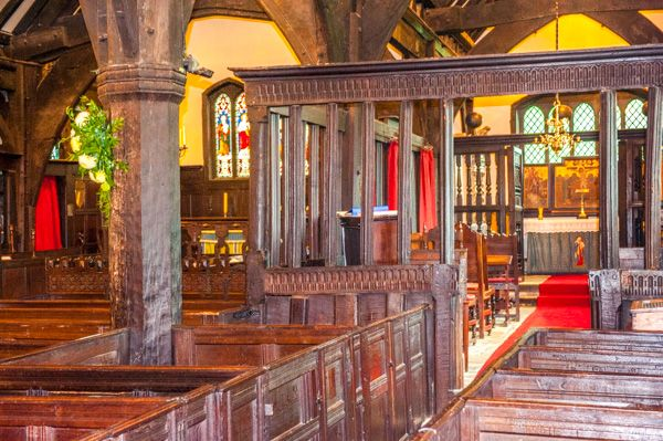 Lower Peover, St Oswald's Church photo, The timber nave and Jacobean benches
