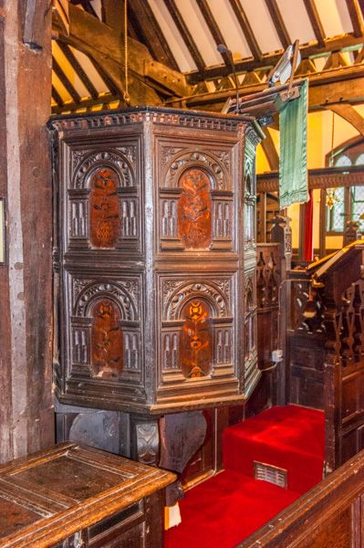 Lower Peover, St Oswald's Church photo, The ornately carved 17th century pulpit