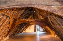 The timber roof of the Bede House
