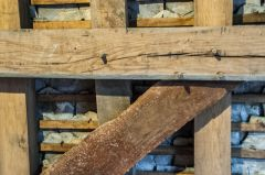 Wooden pegs holding the timber structure together