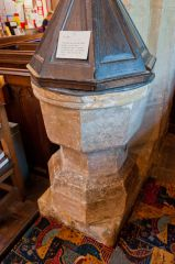 Lydiard Tregoze, St Mary's Church, Medieval font, 16th c cover