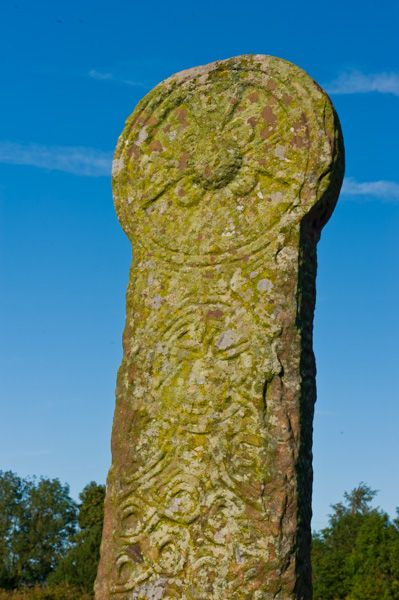 Maen Achwyfan Cross photo, The cross head and central boss