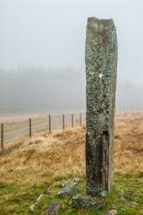 Maen Madoc standing stone, beside the Roman road