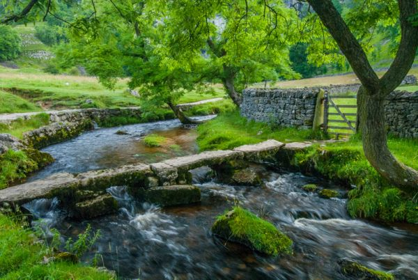 Malham photo, Clapper bridge on the trail to Malham Cove