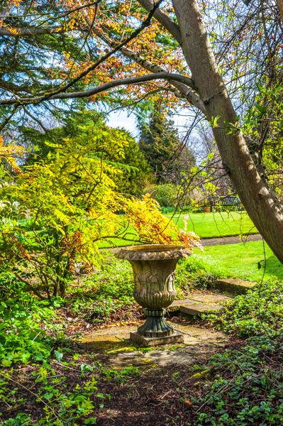Malleny Garden photo, A shaded classical urn