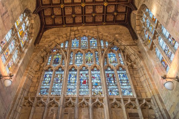 Great Malvern Priory Church photo, The west window with glass given by Richard, Duke of Gloucester (Richard III)