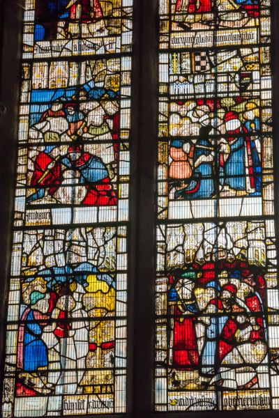 Great Malvern Priory Church photo, 15th century stained glass in St Anne's Chapel