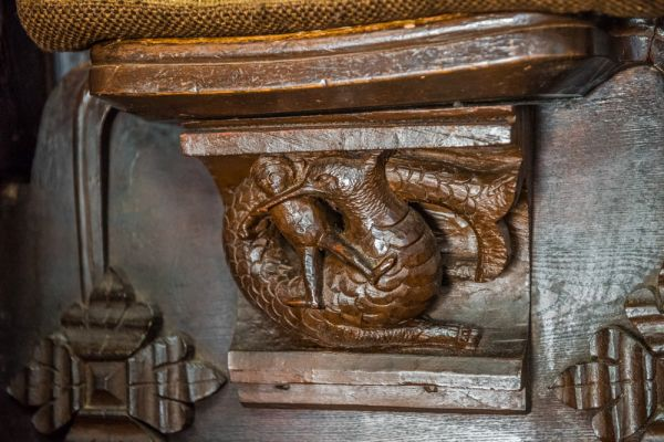 Great Malvern Priory Church photo, Sea monster misericord