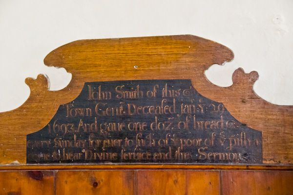 Marlesford, St Andrew's Church photo, 17th century dedication board