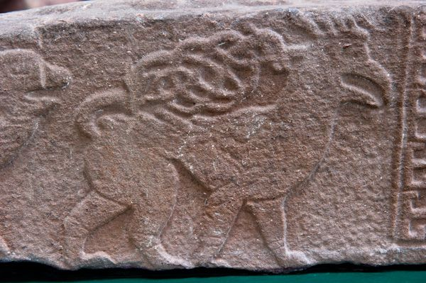 Meigle Sculptured Stone Museum photo, A beast with interwoven tail