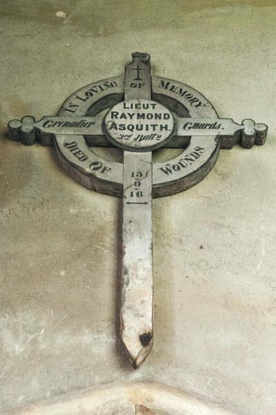 Mells, St Andrew's Church photo, Raymond Asquith wooden cross