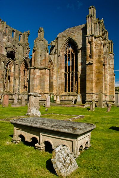 Melrose Abbey photo, A table tomb in the churchyard
