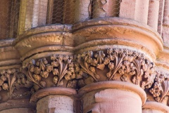 Carved capitals in Melrose Abbey church