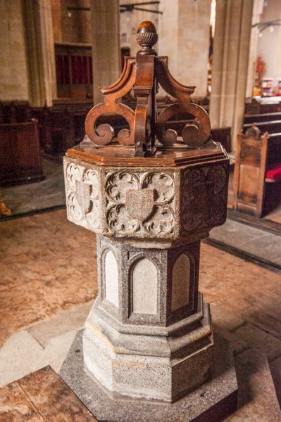 Mere, St Michael's Church photo, 15th century font on Victorian base
