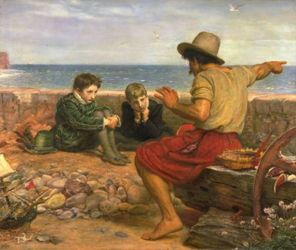 Budleigh Salterton photo, Millais painting The Boyhood of Raleigh
