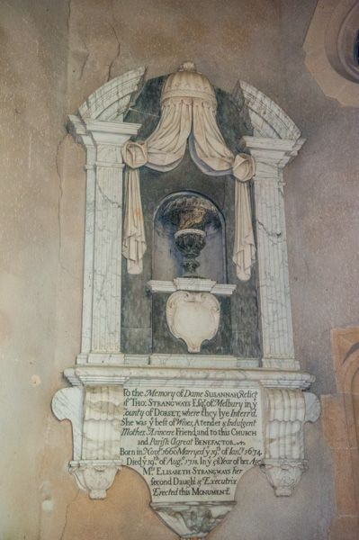 Milton Clevedon, St James Church photo, Susanna Strangeways memorial, 1718
