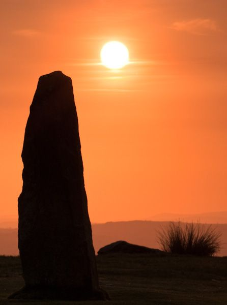 Mitchell's Fold Stone Circle photo, Sunset over a standing stone