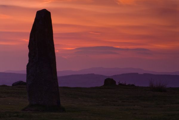 Mitchell's Fold Stone Circle photo, Sunset over the Black Mountains