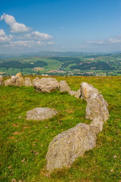 Moel Ty Uchaf Stone Circle photo, One side of the circle with an internal stone