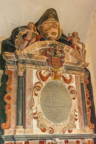 Molland, St Mary's Church photo, Rev. Daniel Berry memorial (d. 1654)