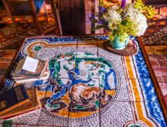 Decorative tile table in the sitting room