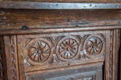 Carved 17th century panel on the pulpit