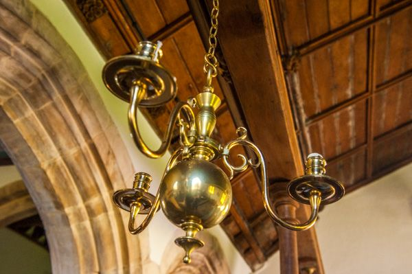 Mottistone, St Peter & St Paul Church photo, 19th century brass chandelier in the chancel