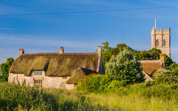 Muchelney Priest's House photo, The cottage with the church beyond