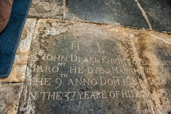 Musbury, St Michael's Church photo, Sir John Drake grave slab (1683)