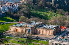 The Scottish National Gallery from atop the Scott Memorial