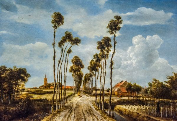 National Gallery photo, The Avenue at Middelharnis, by Meindert Hobbema, 1689