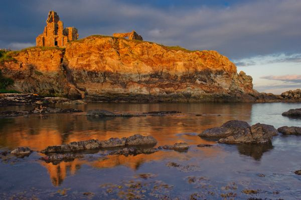 St Monans photo, Newark Castle at sunset