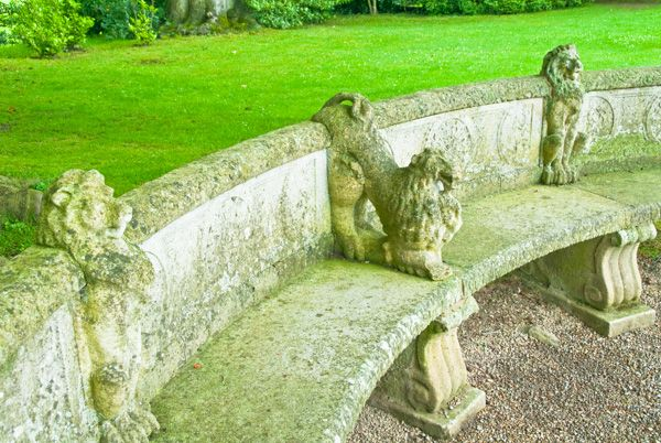 Newby Hall photo, A curving garden bench