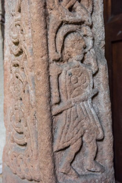 Norbury photo, Figure of a warrior on a Saxon cross shaft