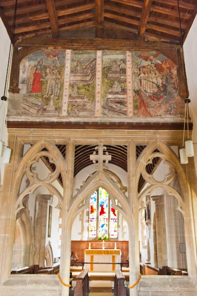 North Leigh, St Mary's Church photo, Chancel arch and Doom painting