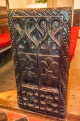 15th century fleur de lys bench end
