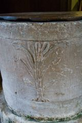Northmoor, St Denys Church, Early English font with fleur-de-lys carving